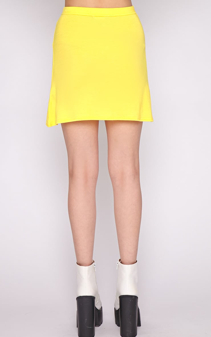 Erika Yellow A Line Mini Skirt  2