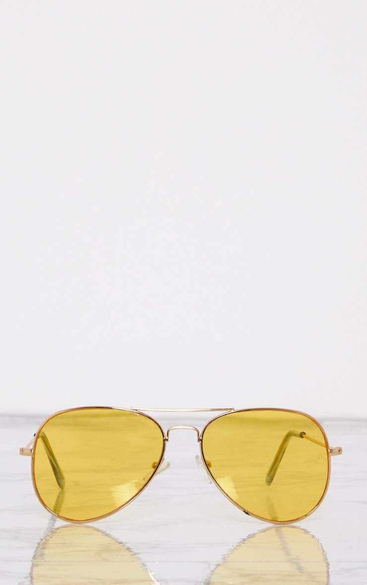 Kelie Yellow Tinted Lens Aviators 3