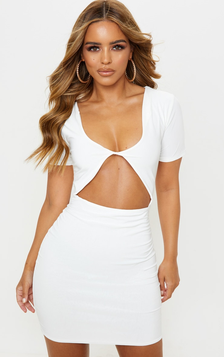Petite White Slinky Twist Front Mini Dress  1