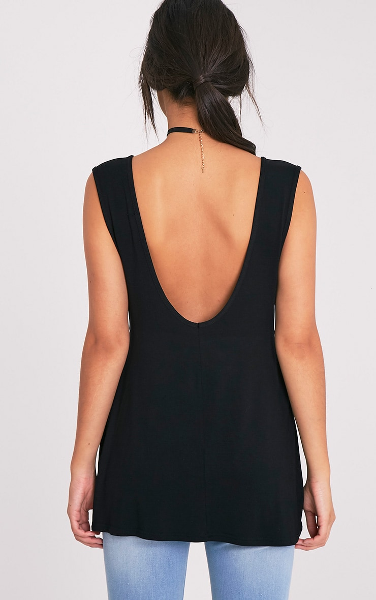 Basic Black Jersey V Back Longline Vest 2