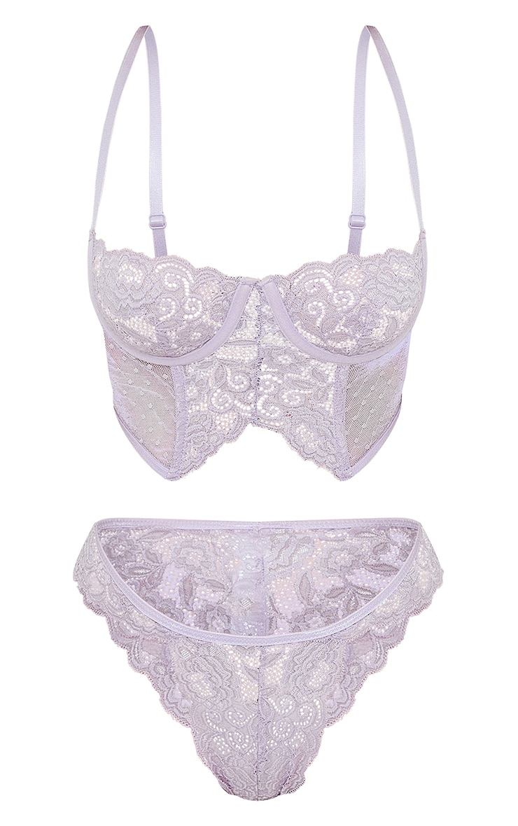 Lilac Underwired Longline Lace And Mesh Lingerie Set 5