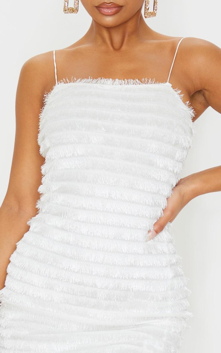 White Fringed Detail Strappy Bodycon Dress 5