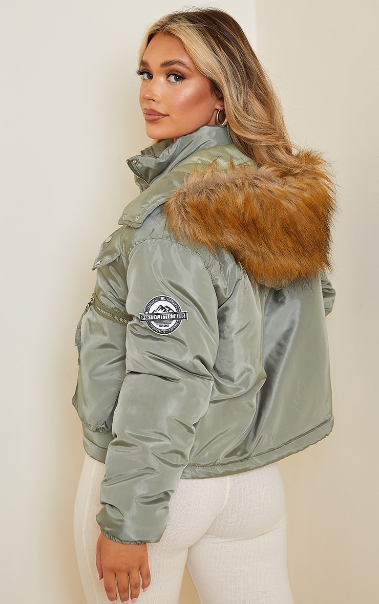 PRETTYLITTLETHING Khaki Cropped Removable Faux Fur Hooded Parka  2