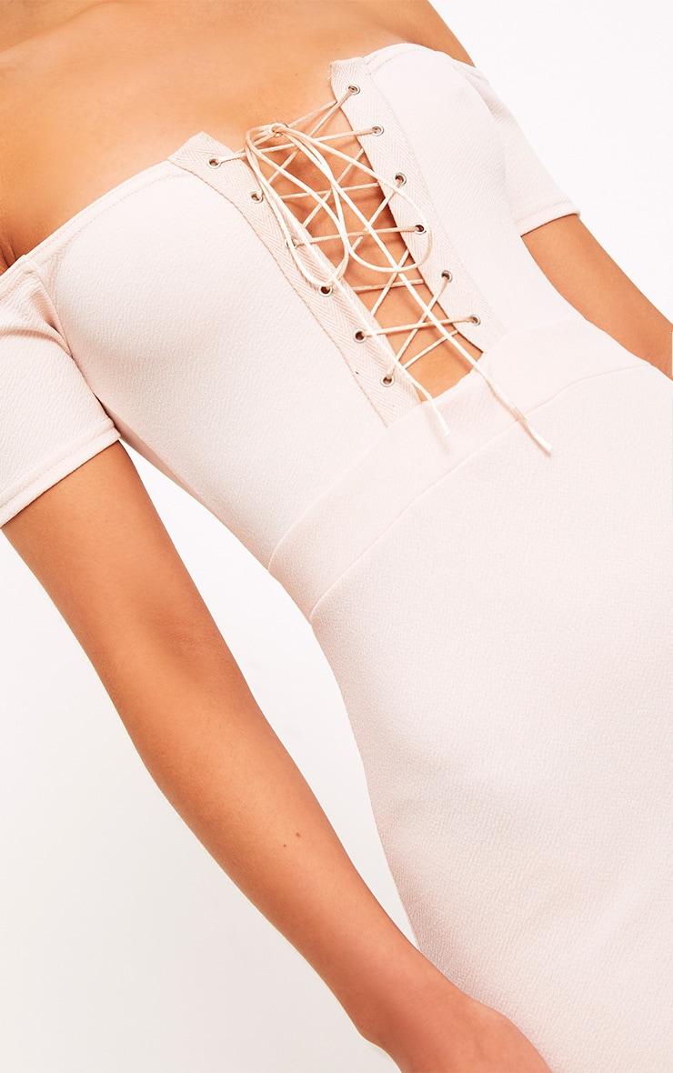 Florie Nude Bardot Corset Detail Bodycon Dress 5
