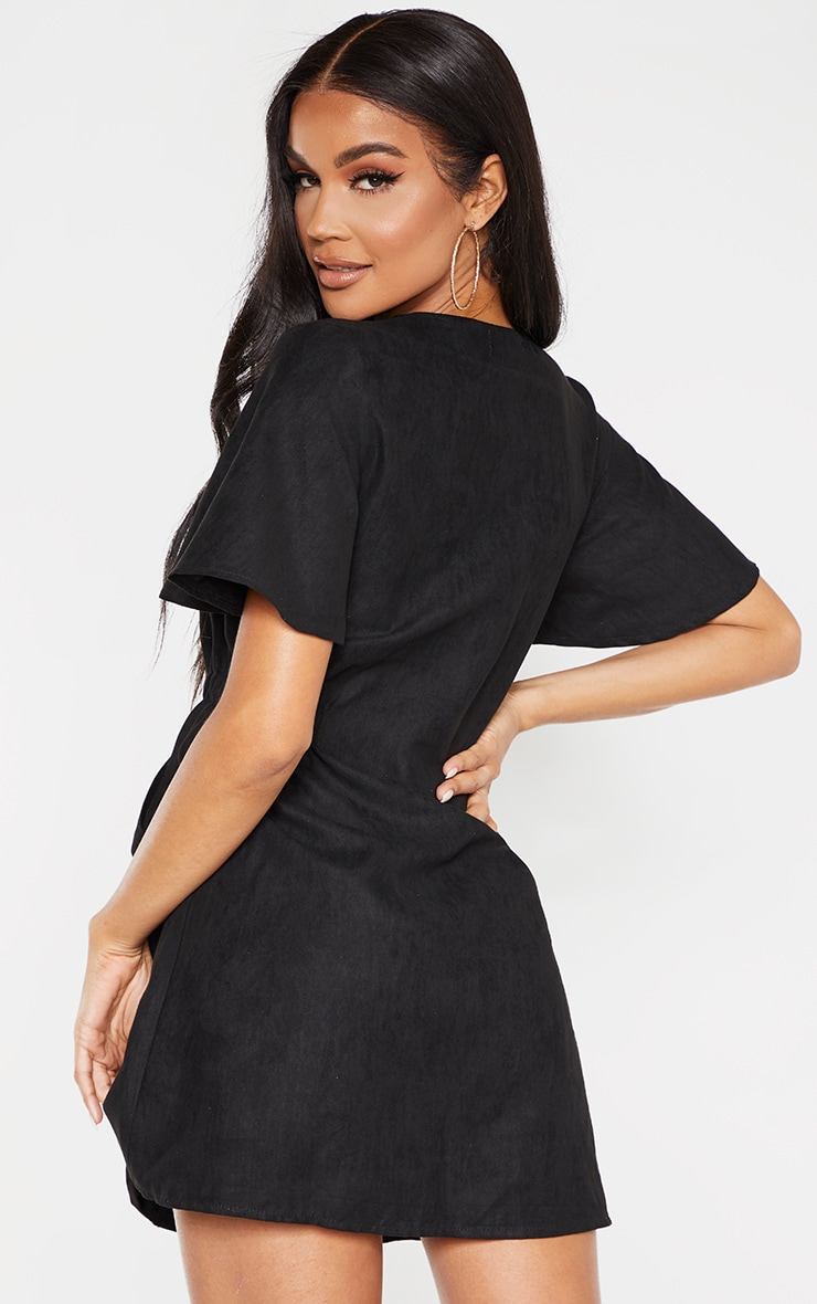 Black Faux Suede Button Front Shirred Side Shift Dress 2