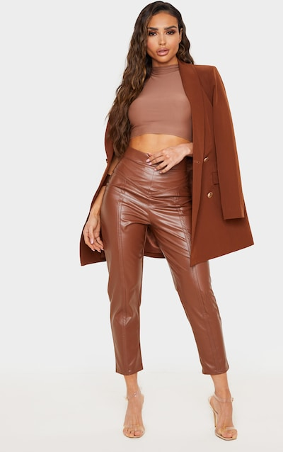 Camel Faux Leather Binding Skinny Trouser
