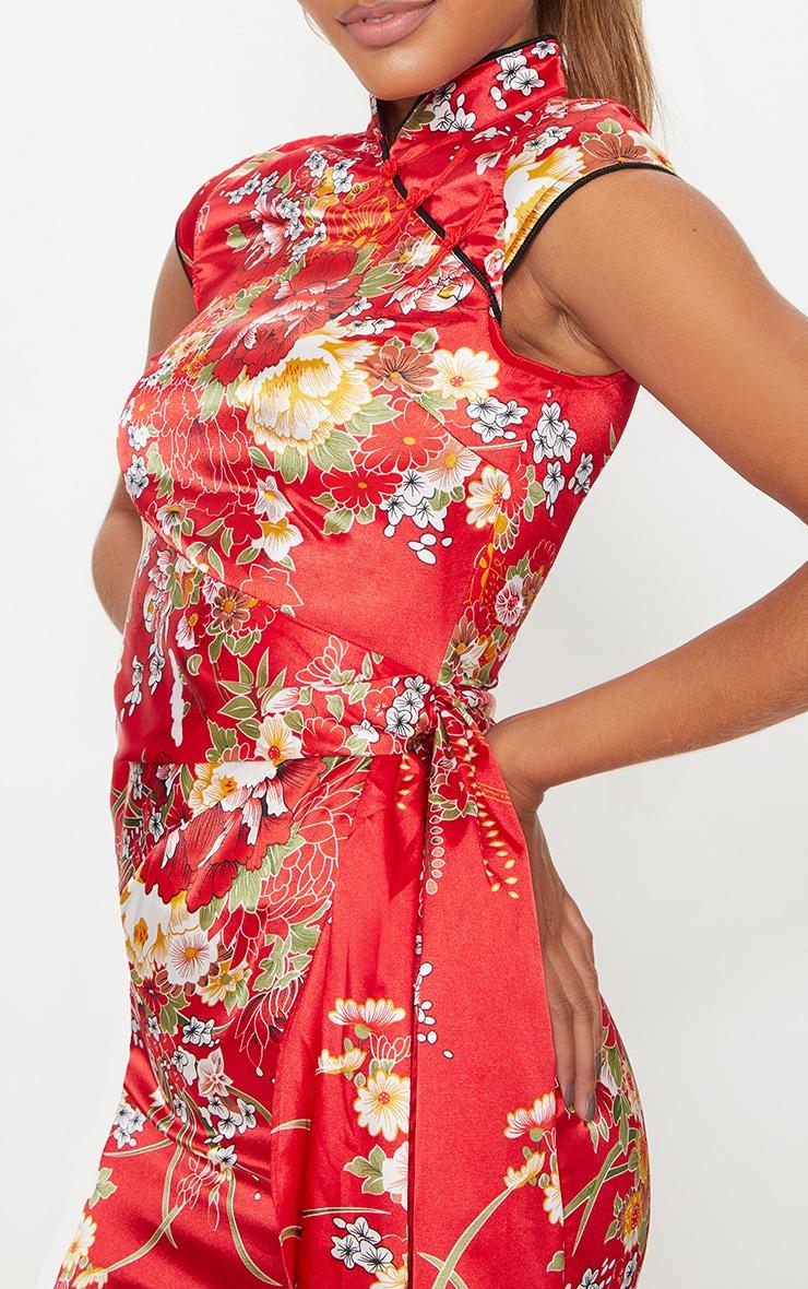 Red Oriental Print High Neck Extreme Split Maxi Dress 5