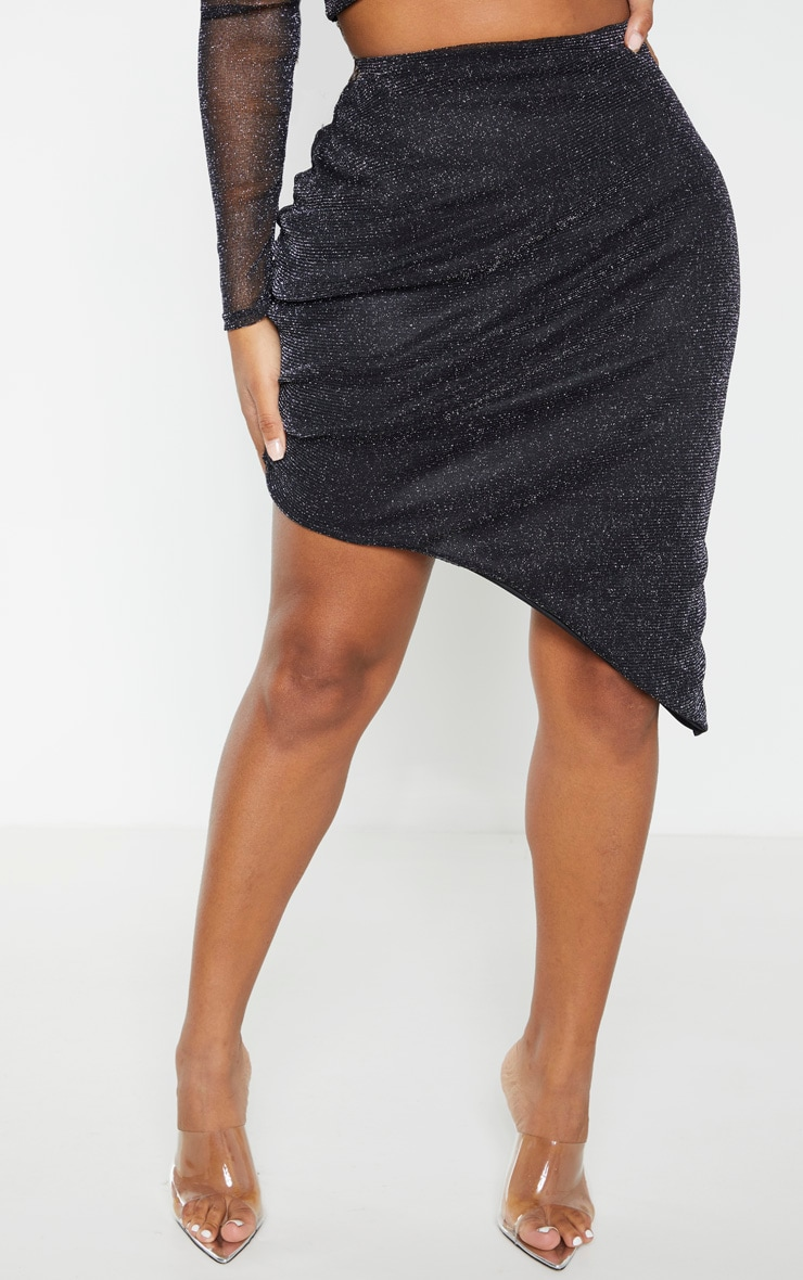 Shape Black Metallic Sheer Ruched Bodycon Skirt 2