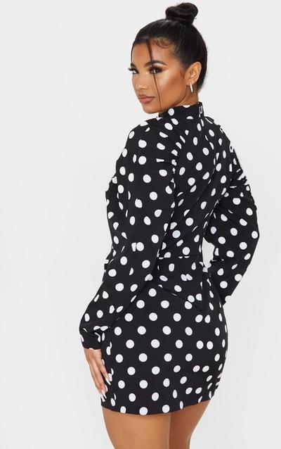 Black Polka Dot High Neck Puff Sleeve Button Detail Shift Dress