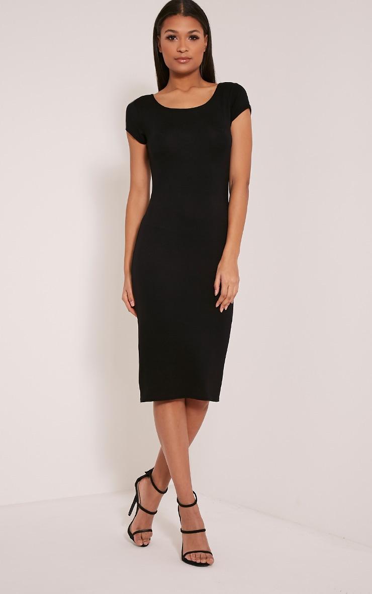 Basic Black Capped Sleeve Midi Dress 1