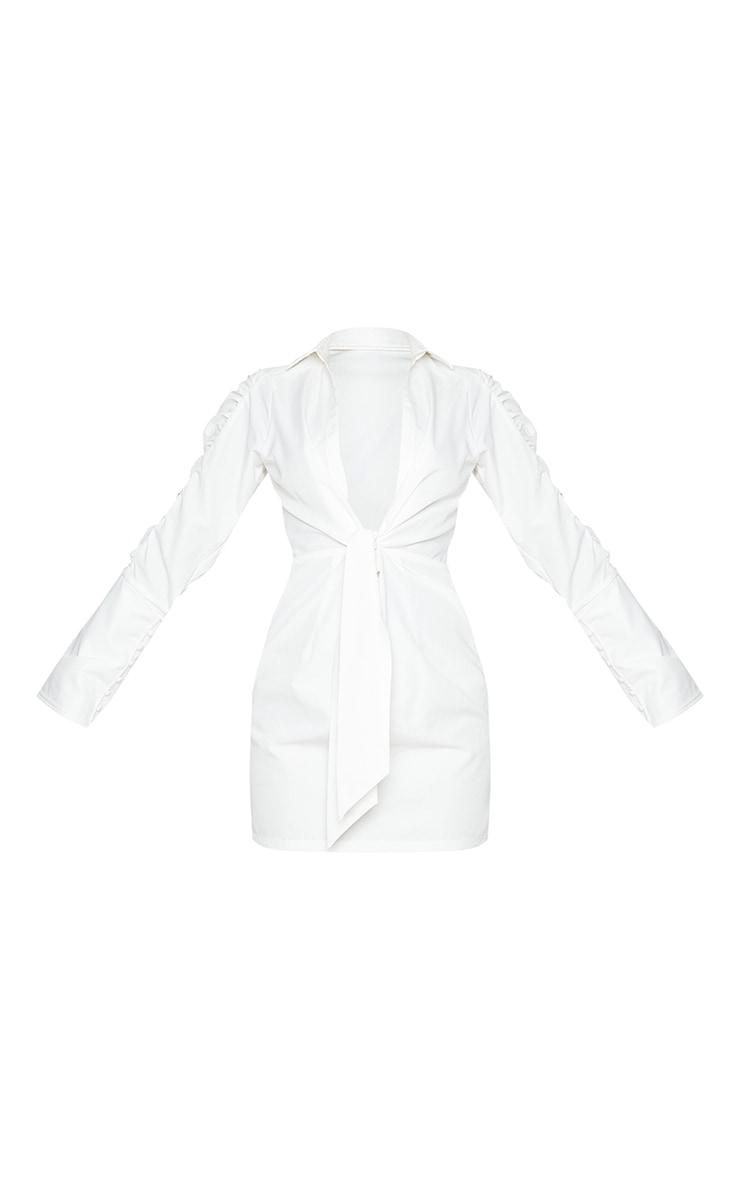 White Ruched Sleeve Plunge Drape Detail Shirt Dress 5