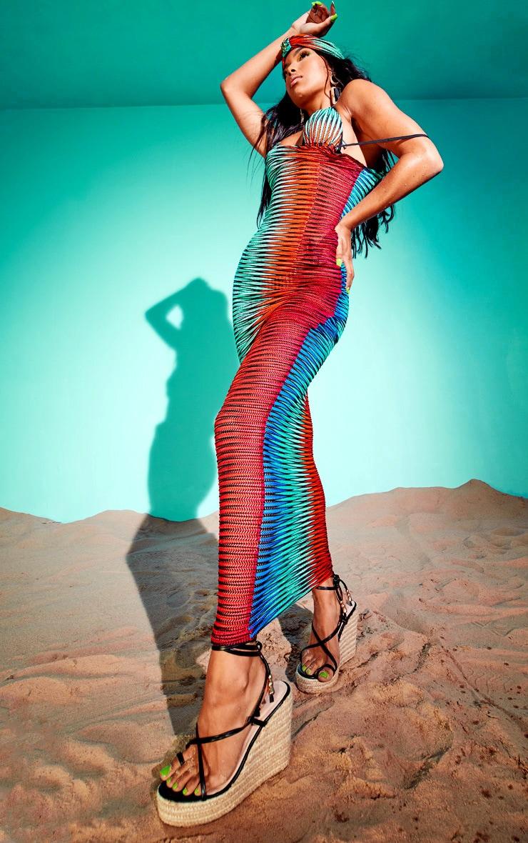 Multi Laser Cut Striped Maxi Beach Dress 3