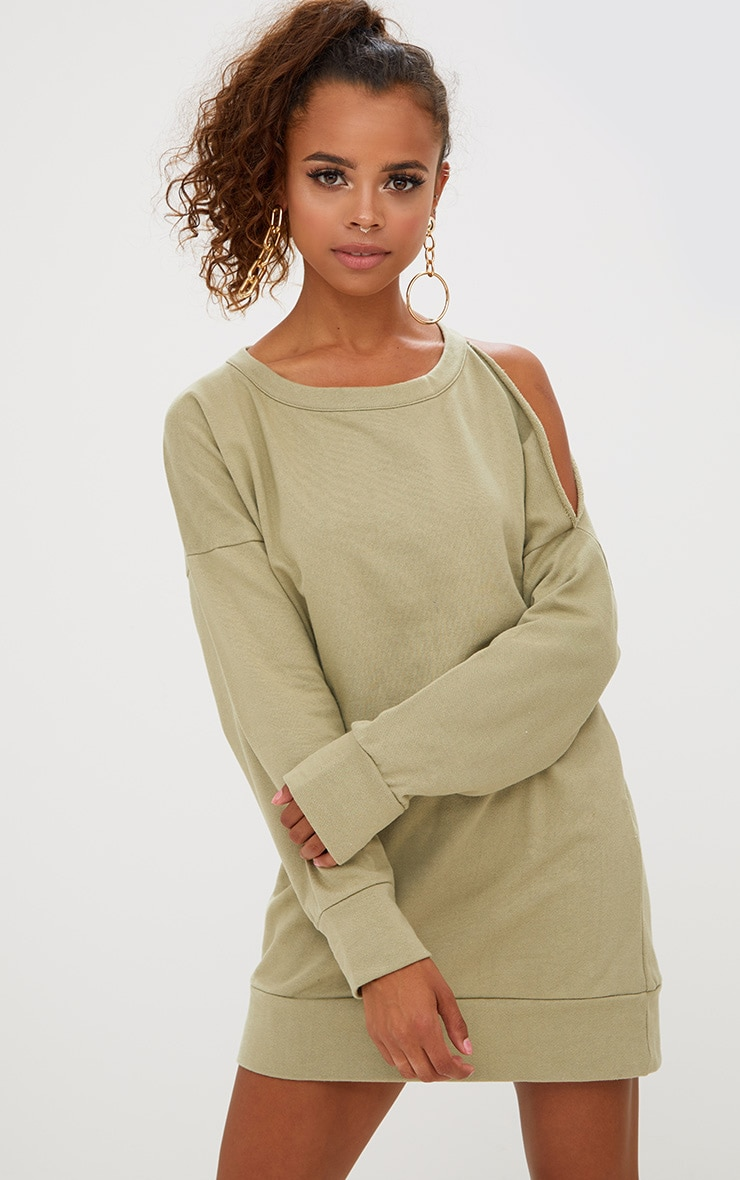 3fda3b75a49 Petite Sage Green Cut Out Shoulder Oversized Sweater Dress image 1