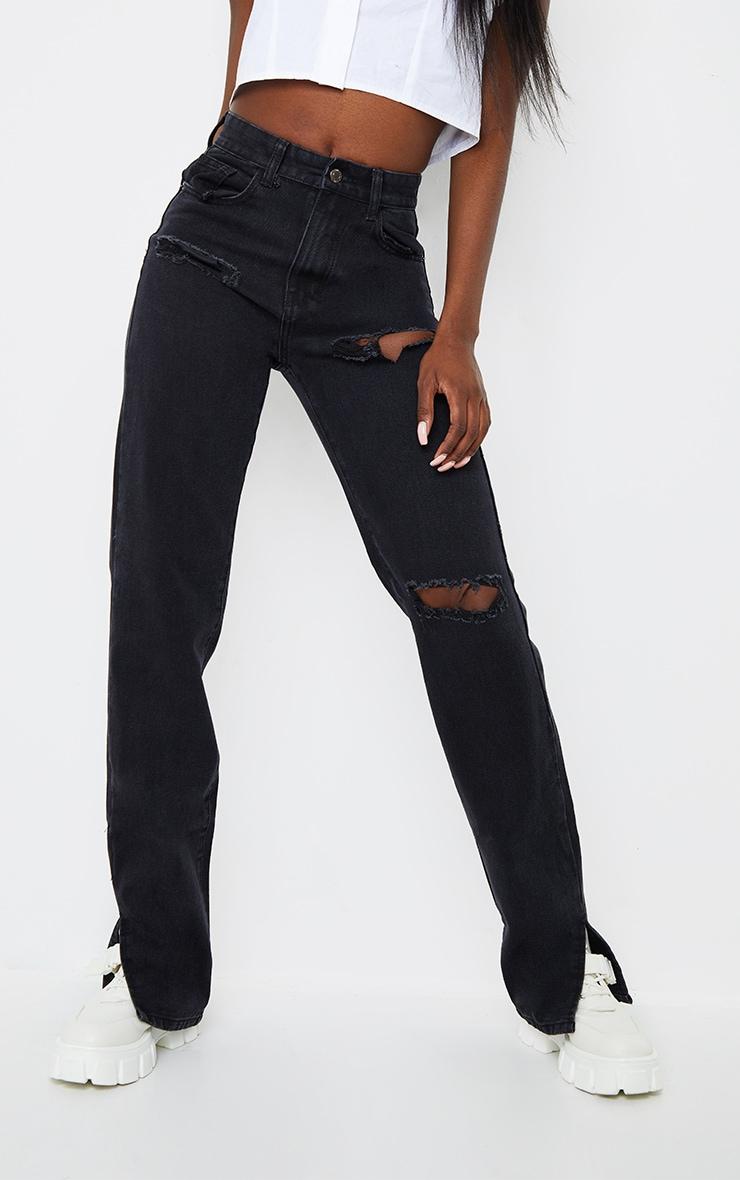 Tall Black Ripped Split Hem Jeans 2