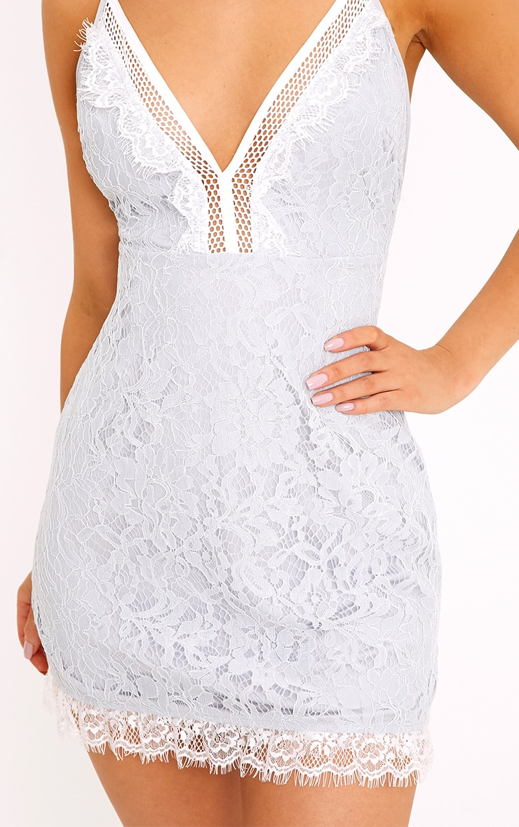Giggi Ice Grey Strappy Lace Shift Dress 5