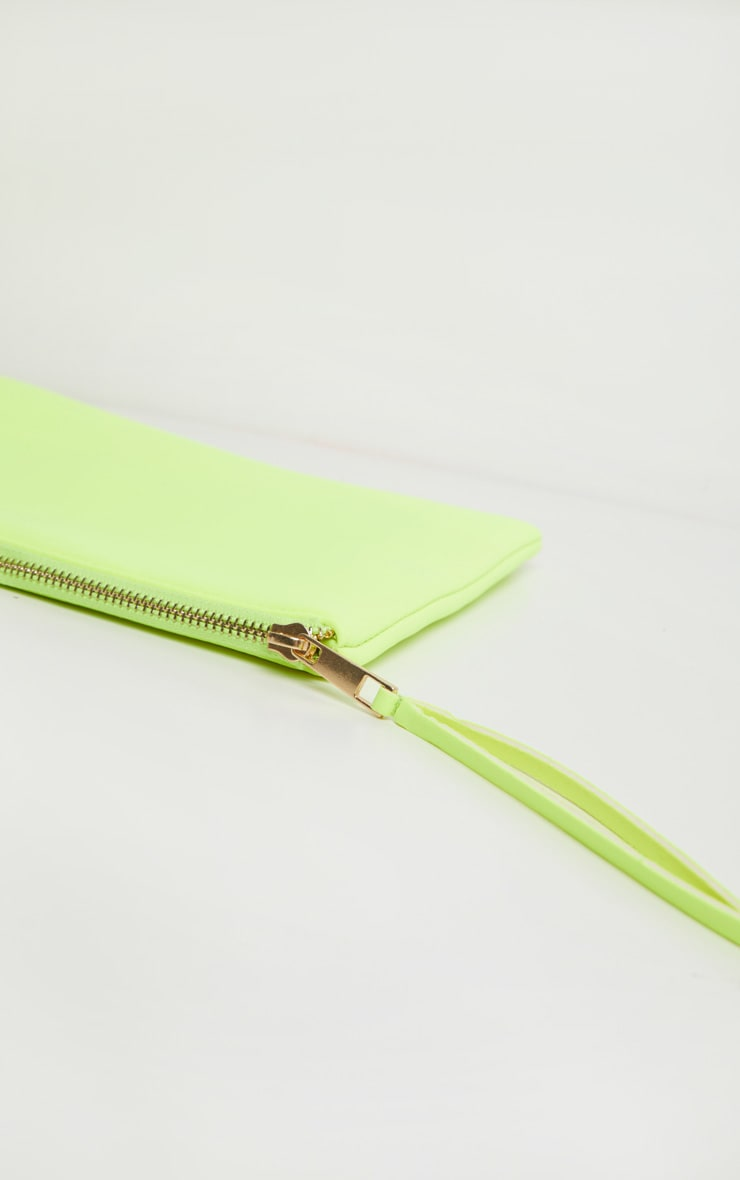 Neon Yellow Clutch Bag 3