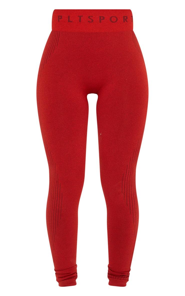 PRETTYLITTLETHING Red Rib Line Detail Seamless Gym Leggings 5