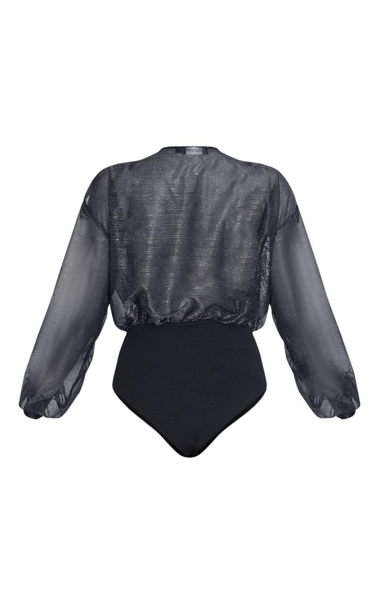 Black Textured Glitter Deep Plunge Long Sleeve Bodysuit  4