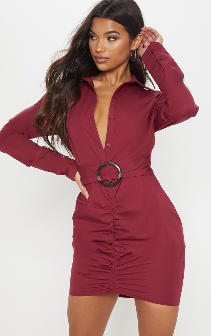 c7fd4c1414762 Burgundy Plunge Ruched Tortoise Belted Bodycon Shirt Dress image 1