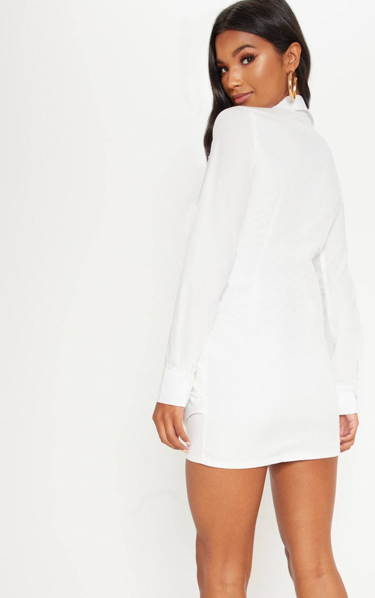 White Plunge Knot Detail Shirt Dress 2