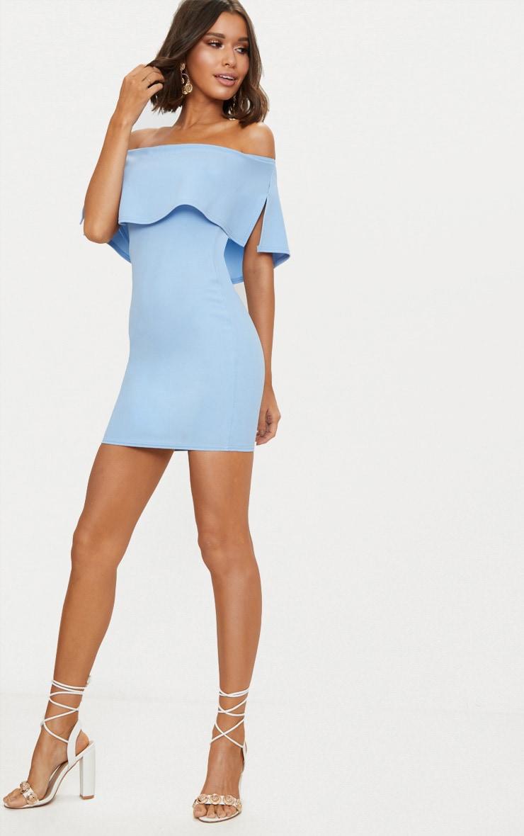 Dusty Blue Frill Bardot Bodycon Dress  4