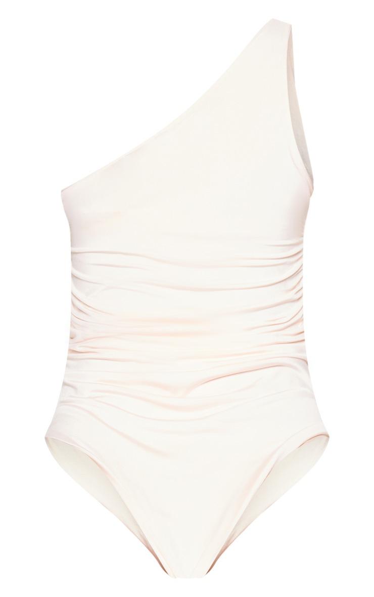 Nude One Shoulder Ruched Bodysuit 4