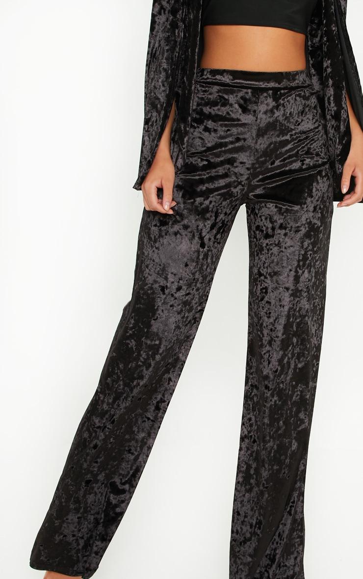 Black Crushed Velvet Wide Leg Pants 5