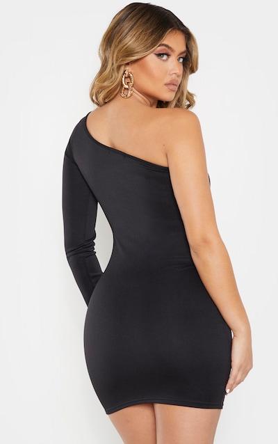 Black One Shoulder Long Sleeve Strap Detail Mini Dress