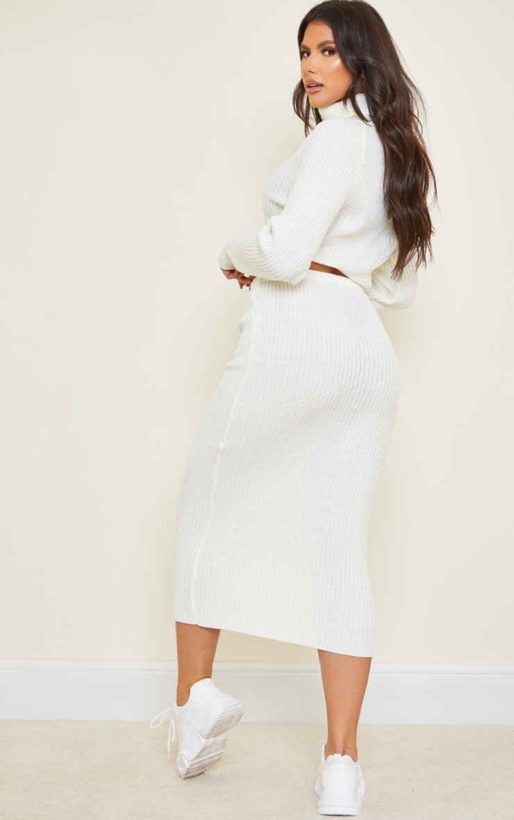 Tall White Roll Neck Cropped Knitted Sweater 2