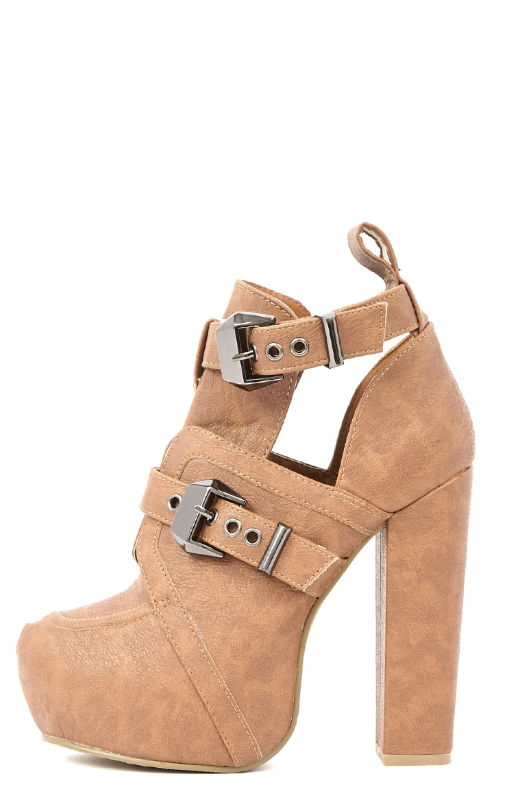Shannon Tan Leather Platform Buckle Boots 1