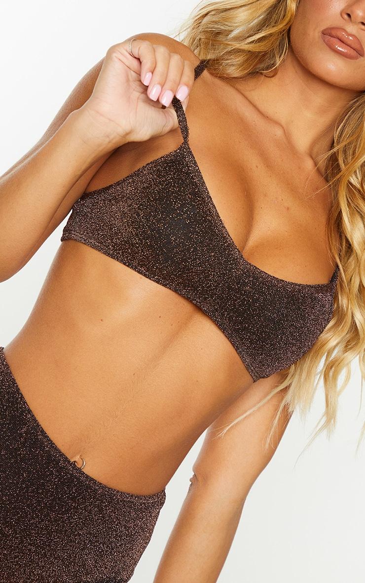 Brown Glitter Scoop Neck Bikini Top 4