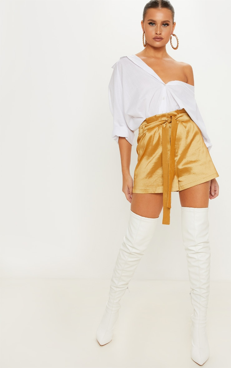 Gold Metallic Satin Tie Waist Short