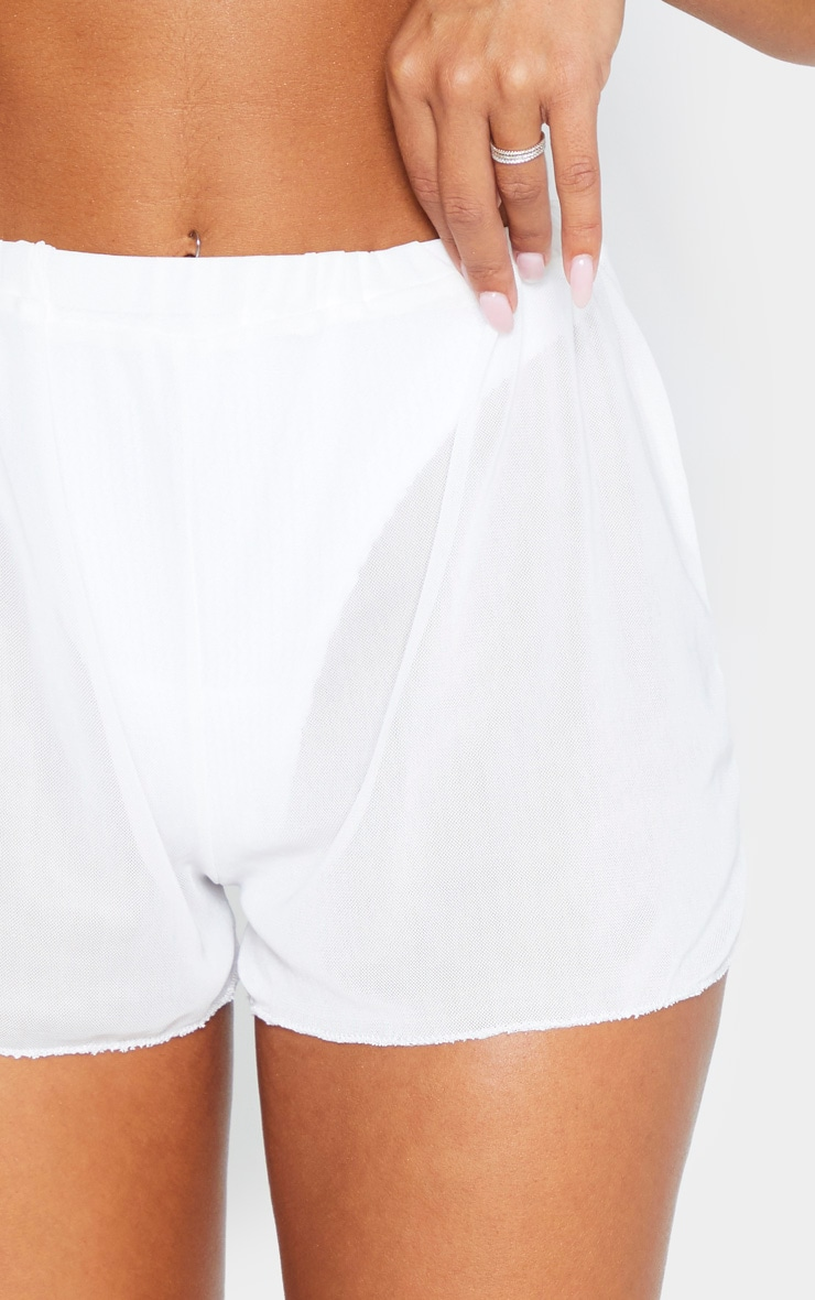 White Mesh Beach Short 6