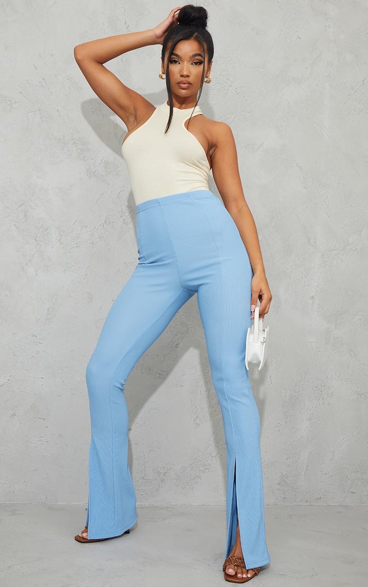 Dusty Blue Power Rib Split Hem Trousers 1