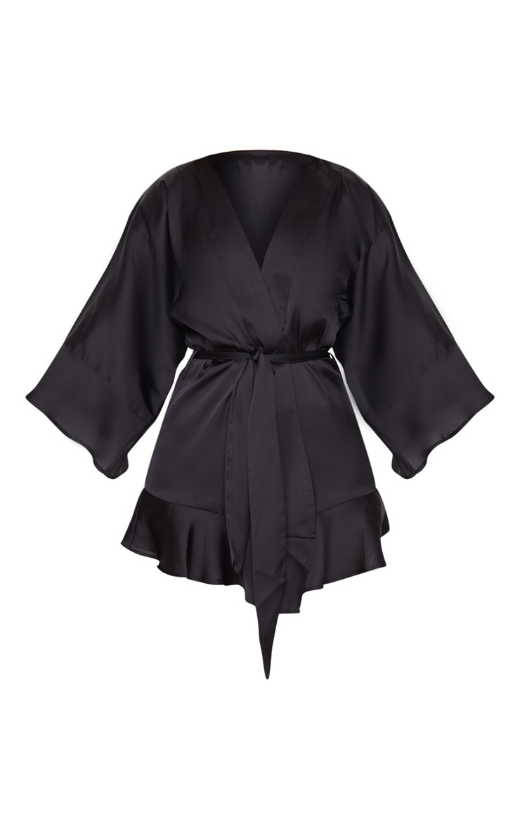 Black Frill Sleeve Satin Robe 5