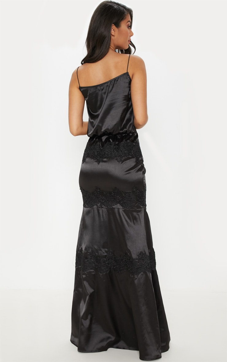 Black Lace Trim Satin Tiered Maxi Dress 2