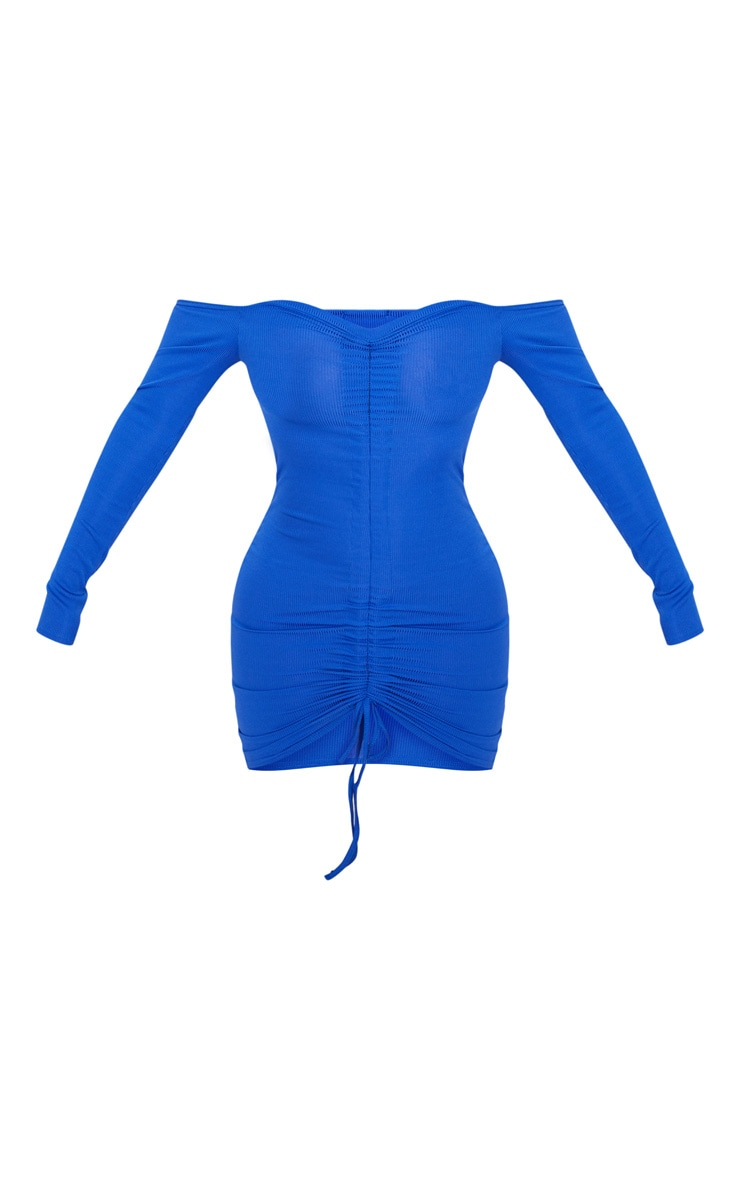 Cobalt Ribbed Long Sleeve Bardot Ruched Bodycon Dress 3