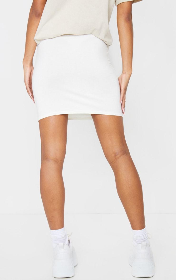 Cream Basic Jersey Mini Skirt 3