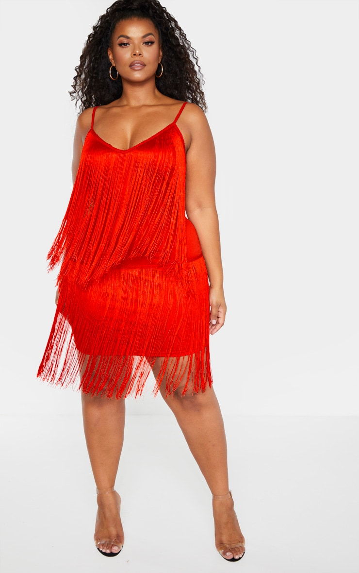 Plus Red Tassel Bodycon Dress 1