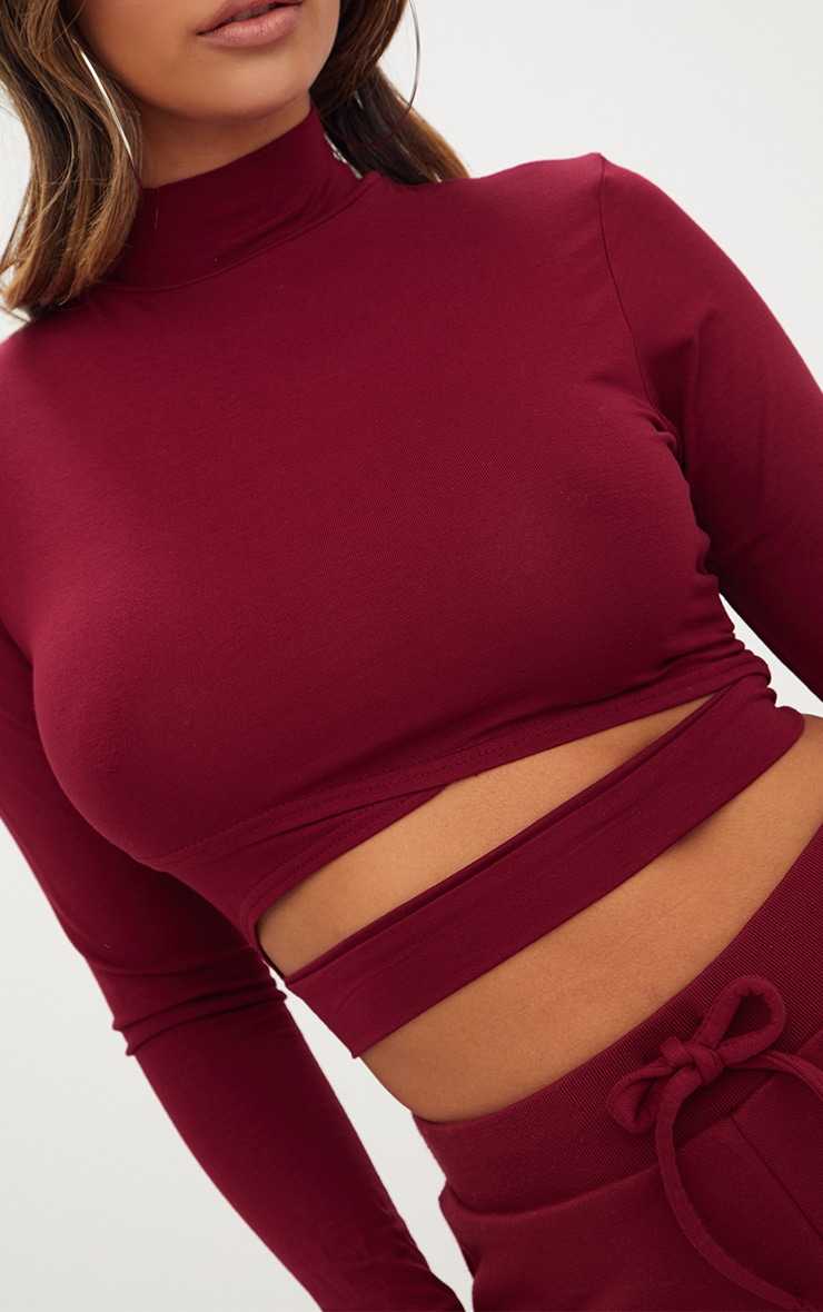 Burgundy Jersey Open Front Longsleeve Crop Top 5