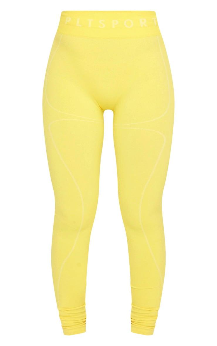 PRETTYLITTLETHING Yellow Sport Linear Detail Seamless Gym Leggings 4
