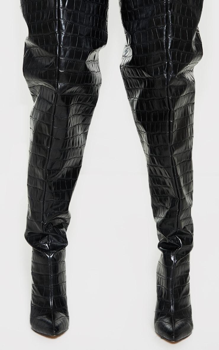 Black Thick Thigh PU Croc High Point Block Heeled Boots 4