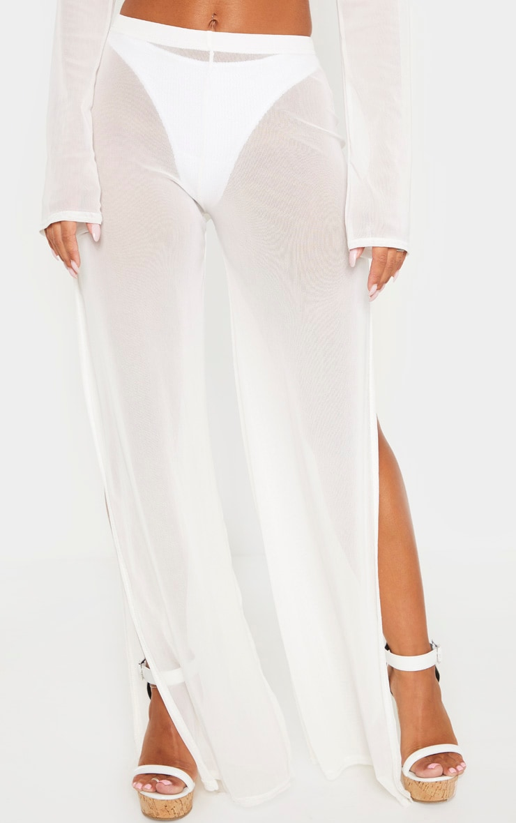 White Split Leg Beach Trouser 2