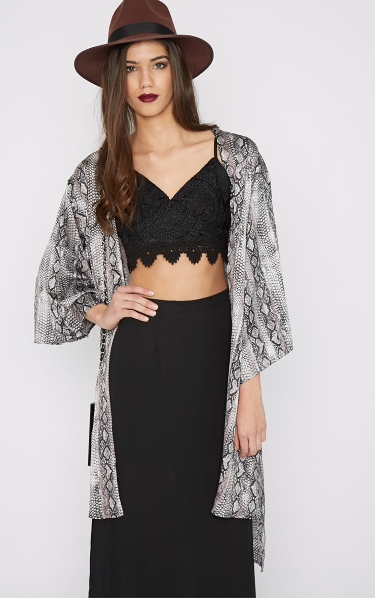 Sofia Grey Snake Print Silk Kimono  5