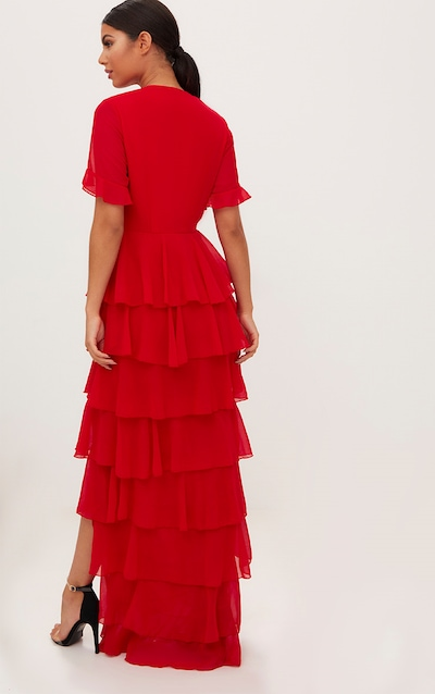 Red Chiffon Ruffle Layer Maxi Dress