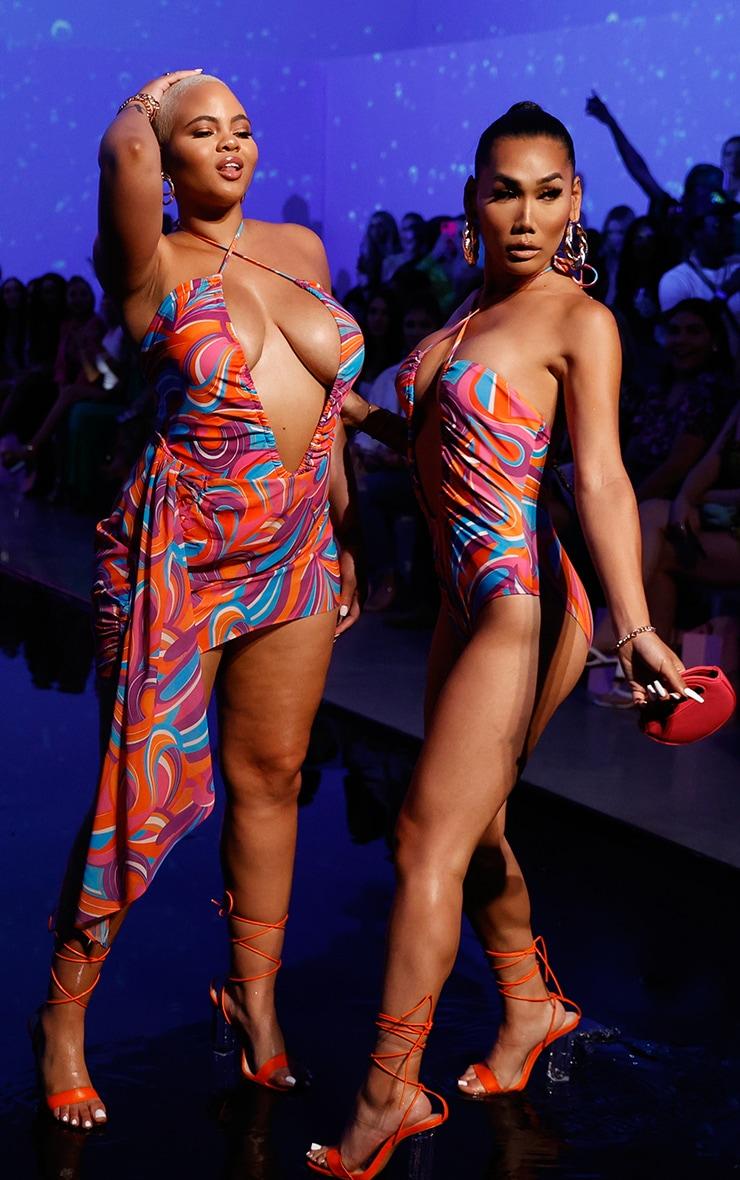 Pink Print Halterneck Ruched Swimsuit image 3