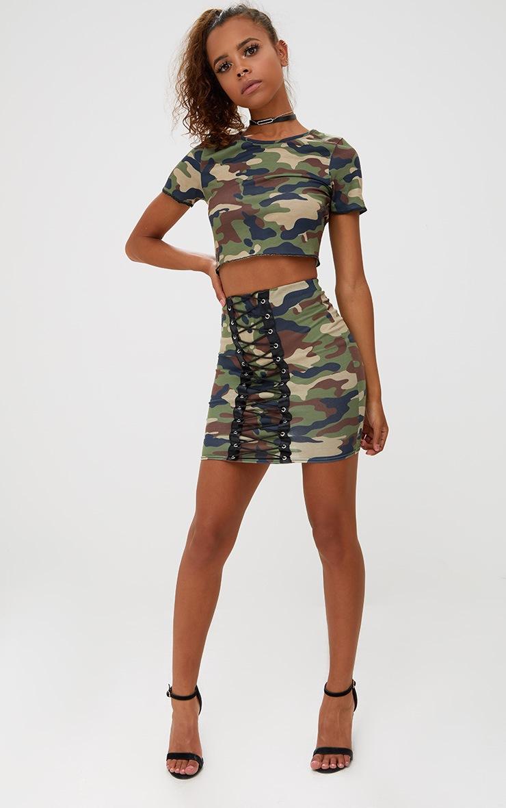 Petite Camo Lace Up Skirt 5