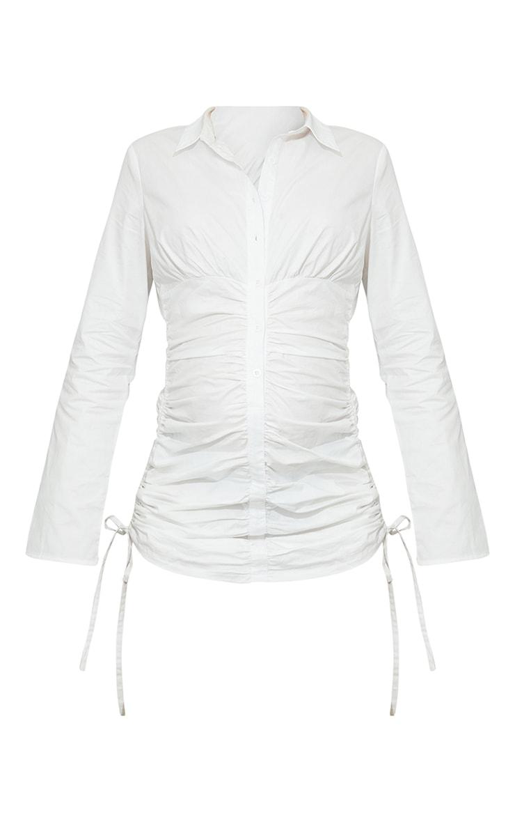 Maternity White Ruched Bump Shirt Dress 5