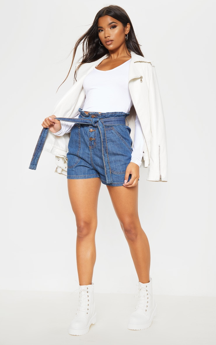 Mid Wash Paperbag Denim Shorts  5