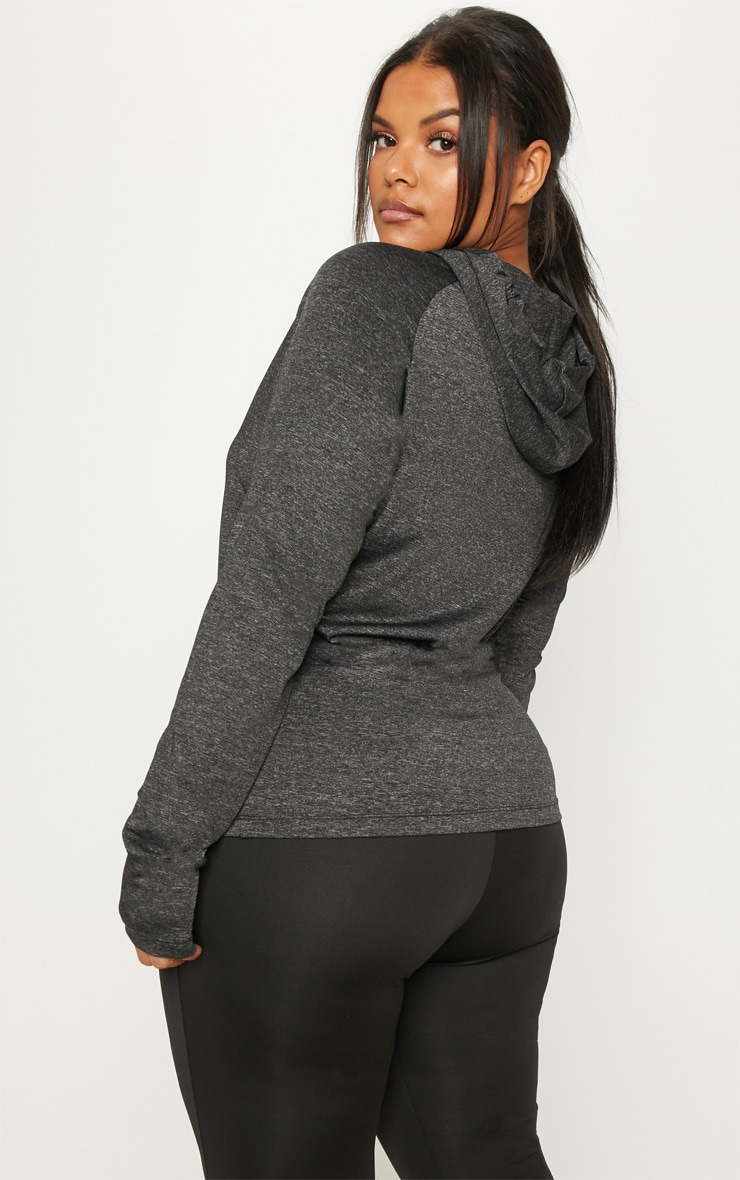 Plus Charcoal Long Sleeve Hooded Gym Top 2